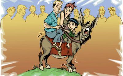 la famiglia e l'asino